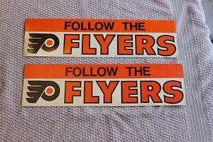 "2 1970's Philadelphia Flyers NHL hockey 3 1/2"" x 13"" bumper stickers"