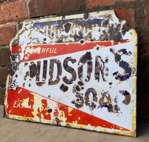 Antique Genuine HUDSONS SOAP Enamel Porcelain Sign - Collectible Rare Solid Sign