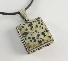 Dalmatian Jasper Pendant Necklace .925 Sterling Silver Black White Stone Jewelry