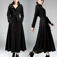 Women Ladies Full-Length Maxi Trench Coat Double Breasted Belt Long Dress Jacket
