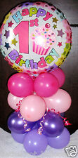 FOIL BALLOON TABLE DECORATION DISPLAY HAPPY 1ST BIRTHDAY AGE 1 AIR NO HELIUM PL