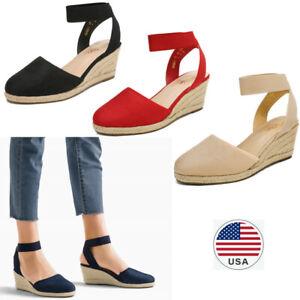 Women's Elastic Ankle Strap Espadrilles Wedge Sandals Close Toe Sandals Shoes