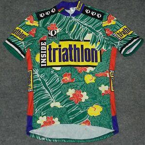 vtg PEARL IZUMI PRO 3/4 ZIP JERSEY + INSIDE TRIATHLON Magazine Cycling L Jersey