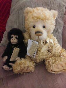 "Charlie Bears ""Bananas and Custard"" Isabelle Lee Mohair and Alpaca bear/monkey"
