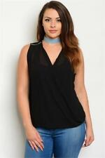 NEW..Lovely Stylish Plus Size Black Chiffon Top with Zipper Detail.Sz16/2XL