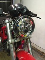 "Motorbike Cafe Racer CREE LED Headlight x1 Chrome 7"" Inch E & DOT Approved 734C"