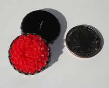 "Red Dahlia Resin Button 1"" handcrafted shank gunmetal black crown edge tray"