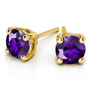 3.00 Ct Round Cut Solitaire Amethyst Earring Stud 14K Real Yellow Gold Studs