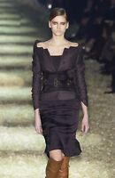 TOM FORD for GUCCI F/W 2003 BLACK JACKET + SKIRT + CORSET BELT SUIT size 44 - 8