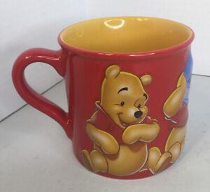 Disney Winnie the Pooh 3-D Raised Embossed Red Cup Mug Hunny Happy