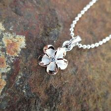 SMALL 2 Tone Plumeria Flower Hawaiian Genuine Silver Pendant Necklace #SP82809