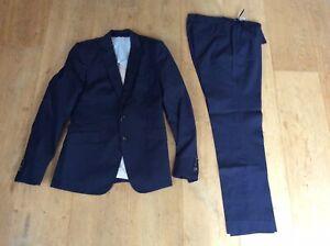 Massimo Dutti Womens Navy Blue 100% Wool Trouser Suit UK Jacket 10 / Trousers 12