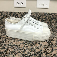 Vintage 90's City Snappers White Real Leather Platform Sneakers Shoes Size 10