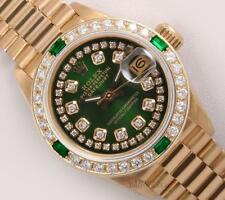 Rolex Lady President 18k 26mm-Green String Diamond Dial-Emerald Diamond Bezel