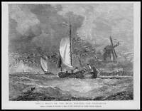 1872 FINE ART Antique Print -  Dutch Boats Maas Rotterdam Walter May Water (64)