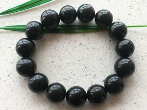 Certified Natural Black Cyan 13mm Chinese jade Hetian jade stone 7.5'' Bracelet