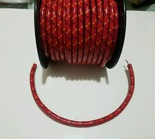 8mm SUPPRESSION CORE BRAIDED CLOTH Red with Black Yellow tracers SPARK PLUG WIRE