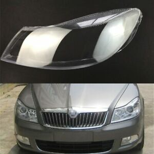 Pair For Skoda Octavia 2010~2014 Headlight Cover Car Headlamp Lens Auto Shell