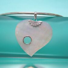"""2"""" Natural White Mother of Pearl Shell Heart Handmade Pendant 925 Bali Silver"""