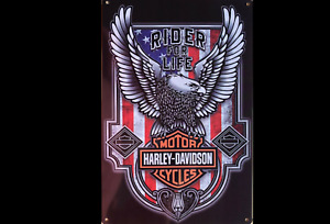 HARLEY DAVIDSON Garage Rustic Vintage Metal Tin Signs and Harley flags 90 x 150c