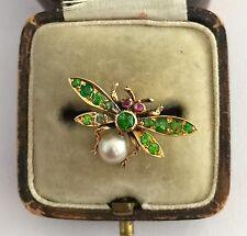 A Wonderful Edwardian Green Demantoid Garnet, Ruby & Pearl Dragonfly Ring 1800's