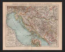 Landkarte map 1905: BOSNIEN, DALMATIEN, ISTRIEN, KROATIEN U. SLOWENIEN.
