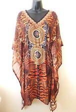new Womens kaftan tunic dress top Sheer dolman sleeves elastic waist $39
