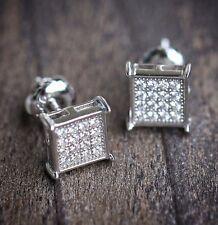 925 Sterling Silver Men's Mini Square Shaped Stud Earrings
