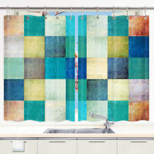 Retro Square Lattice Window Treatments for Kitchen Curtains 2 Panels 55X39in