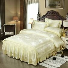 Luxury Satin Jacquard Red Lace Golden Luxury Bedding Set Queen King Duvet Cover