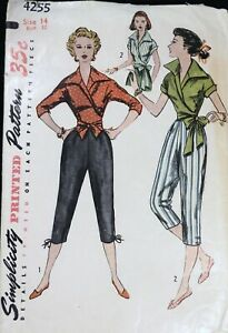 Vtg 1950s Simplicity 4255 Wrap Blouse Pedal Pusher Knee Pants SEWING PATTERN 14