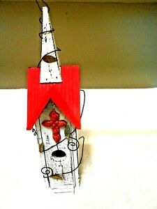 Wood Birdhouse Church with Ceramic Cross and Steeple Adorable Distressed paint