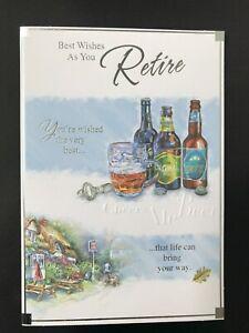 Retirement card for men, male, beer themed, foiled, embossed,  20 x 14 cm