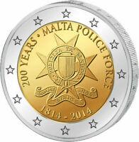 """MALTA 2014 2 EUROS CONMEMORATIVA UNC  """"POLICIA DE MALTA"""" RARA S/C MUY ESCASA"""