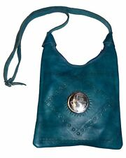 Moroccan Handbag Carved Leather Evening Shoulder Strap Bag iPad-Purse Turquoise