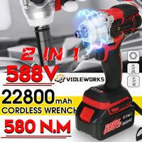 588VF 580Nm Trapano Avvitatore a Batteria Cordless Elettrico Chiave Percussione