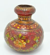 Original Old Antique Hand Crafted Iron Floral Painted Wooden Small Pot