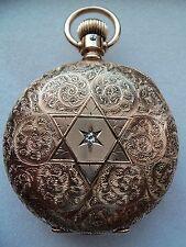 Reloj de bolsillo Elgin/colgante (14k Solid Gold Diamond Star Hunter caso) 1888