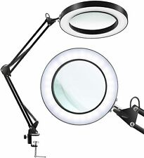 Magnifying Glass Desk Lamp Dimmable Metal Swivel Arm LED Light for Reading Craft