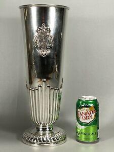 "15"" Gadebusch German .800 Silver Vase Repousse Crowned Deer & Fish Coat of Arms"