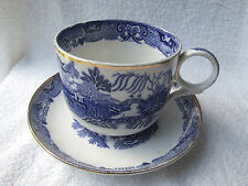 Very Large Antique Blue & White Willow Pattern Breakfast Cup & Saucer