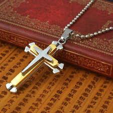 UK* Mens Chain Necklace Silver & Gold Cross Pendant Jesus Men's Chunky Steel