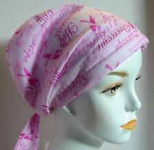Inspirational Courage Strength Hope Overcome Cancer Head Scarf Turban Pink Ribbo