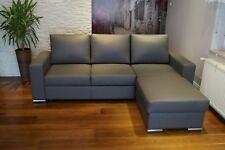 Echtleder Ecksofa 245x170cm Echt Leder Sofa Couch mit Bettfunktion & Ottomane