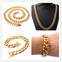 12mm24in Men Cuban Miami Link Bracelet Chain Set 14k Gold Plated StainlessSteel