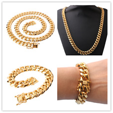 12mm24in Men Cuban Miami Link Bracelet Chain Set 14k Gold Plated StainlessSteel
