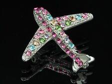 2 pcs Mix color Austrian crystal silver Brooch pin Aircraft Airplane Jet flight