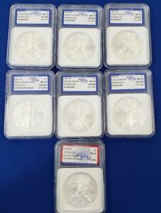 7 US 1ozt Burnished Silver Eagle $1s 6-2007-w/2008-W plastic holders L10444