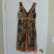 NICOLE MILLER STUDIO 100% Silk Sleeveless V-neck Lined Dress Size 6 Retail $300