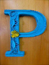 """BLUE CAST IRON WALL LETTER /""""H/"""" 6.5/"""" TALL rustic vintage decor sign child nursery"""